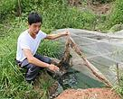 Wu Shibin,Farmhouse owner in Yuanshan Village, Guangyuan City, Sichuan province showing the cesspit he built to collect wastewater. July 2013